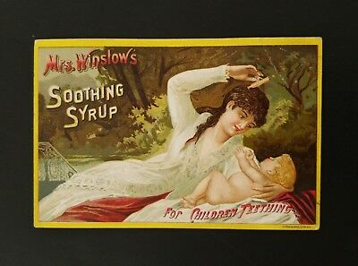 1887 Victorian Trade Card With Calendar ~ Mrs Winslows Soothing Syrup