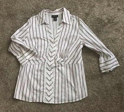 LANE BRYANT Womens Plus Size 18/20 Striped Button Front Shirt 3/4 Sleeve Career