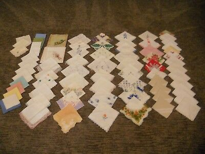LARGE LOT of 73 Vintage Hankies Handkerchiefs