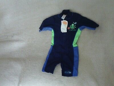 Baby Boys Superman Swimsuit Blue Red Uv Safe Sun Suit 9 12 Months