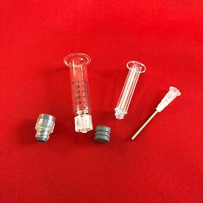 LOT 1ML Borosilicate Luer Lock GLASS SYRINGE W/ TIP