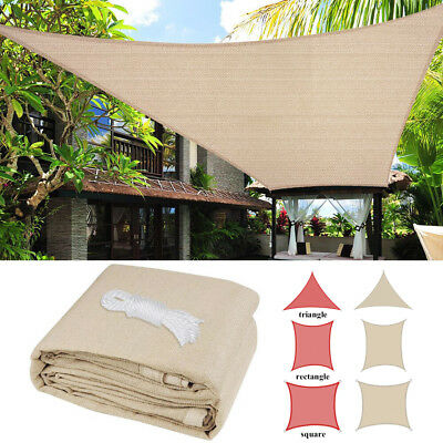 Sun Shade Sail UV Block Canopy Patio Lawn Pool Awning Top Cover Outdoor 9 12 16""
