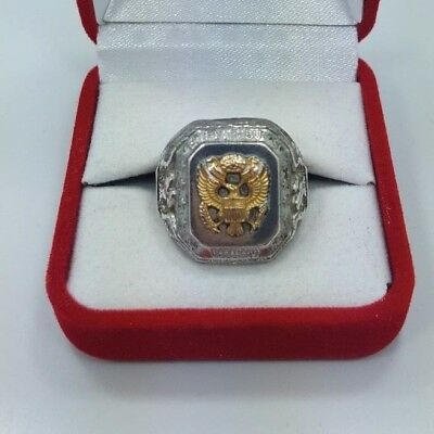 Signed Hh Wwii Vintage Us Army Sterling Silver G.f. Ring