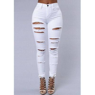 Women's Ladies Ripped Skinny Denim Jeans Cut High Waisted Jegging Trousers Pants