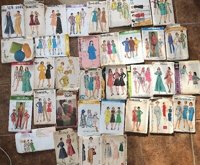 Lot of 35 Vintage Sewing Patterns Vogue Simplicity Butterick McCalls 40's - 80's