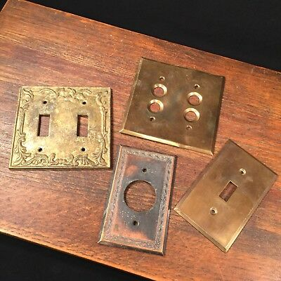 Vintage Brass Light Switch Plate Lot (4) Double Single Toggle Plug PRIORITY MAIL