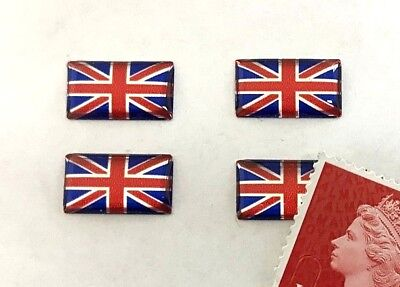 Twin Slimline Union Jack Stickers Super Shiny Domed Finish Gold on Brown