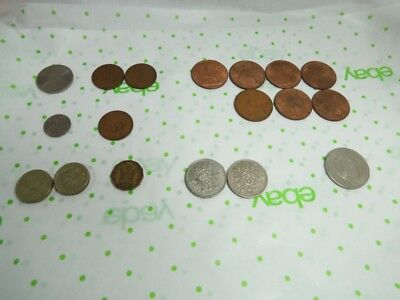 Lot of 18 Great Britian Coins - Penny, Shilling, Pound, etc!!!