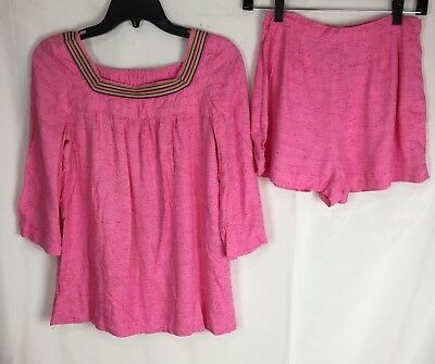 Vtg 60s Hot Pink Short And Top Outfit Play Suit Fits Modern Small Medium