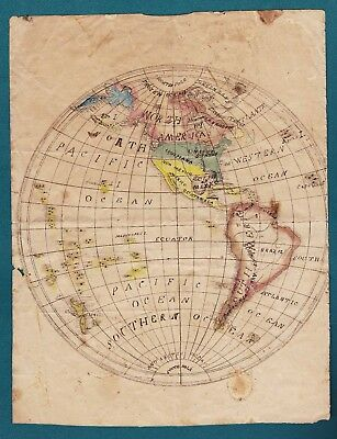 Folk Art Style Drawing. World Globe  Map. Pen & Ink. 19Th Century.