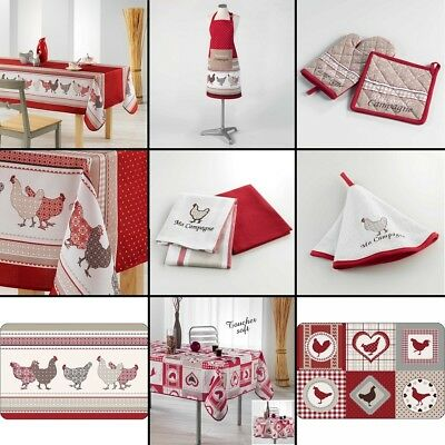 Red Chicken Hen Kitchen Collection - Tablecloth Placemat Apron Towels Oven Glove