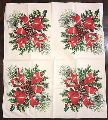 Vintage Xmas Christmas Wilendur Tablecloth Red Holly Berries Bows Pine Cones