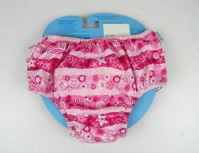 i play Toddler Girls' Ruffle Snap Reusable Absorbent Swimsuit Diaper Pink 3T