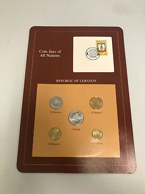 Coins of All Nations Republic of Lebanon Sheet Free Shipping Stamped Page