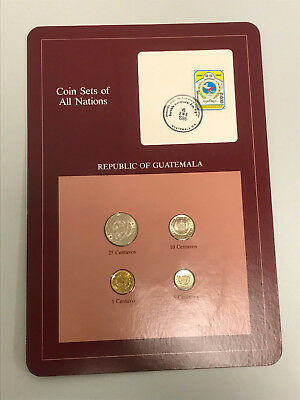 Coins of All Nations Republic of Guatemala Sheet Stamped Page Free Shipping