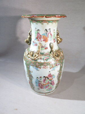 CHINE ANCIEN VASE EN PORCELAINE DECOR POLYCHROME OR PERSONNAGES CANTON XIX ème