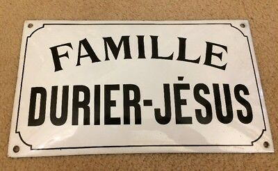 French Enamel Sign Plaque Metal France Famille Durier Jesus White Name House