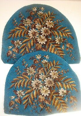Antique blue beedwork tea cosy panels with flowers