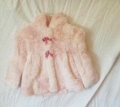 Rothschild Pink Faux Fur Winter Coat 4T Great for the Holidays!