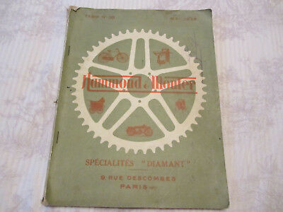 Ancien catalogue motos cycles Tsf HAMMOND MOUTER specialites DIAMANT 1928