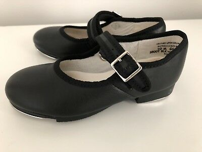 Girls CAPEZIO Slip-On Black Leather Tele Tone Tap Dance Shoes 10 M 3800T