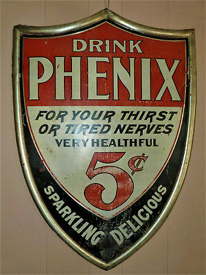 c.early 1900s Cutout Style  DRINK PHENIX 5 C Healthful Original Cola Soda Sign