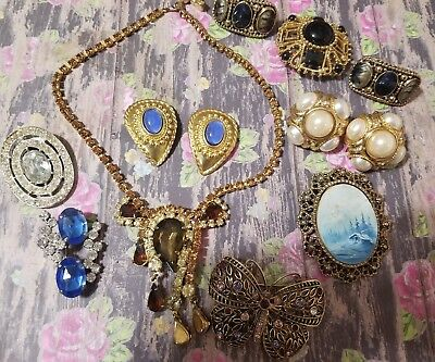 Lot of vintage antique jewelry GRANDMA'S estate Rhinestone (See Pictures)Lot 999