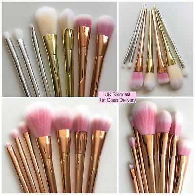 7x Makeup Brush Set Foundation Powder Eyeshadow METALLIC Brushes UK Seller NEW