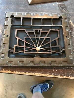 """R 5 antique deco floor to wall heating grate 11 7/8"""" by 13.75"""