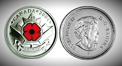 Canada 2004P Remembrance Day Poppy 25 Cents Gem BU UNC Quarter!!