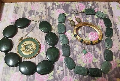 Lot of vintage antique jewelry GRANDMA'S estate  Lot Green Jade