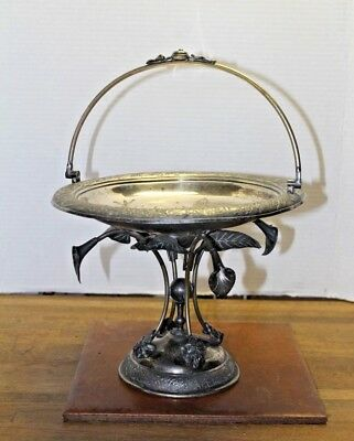 Vtg Hand Crafted Pewter Candy/Nut Dish, Intricately Engraved, Unique Leaf Base