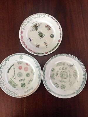 Cook China Co Salesman Sample Plates From 1940's GREAT LOGOS! 3 Plates! Rare!