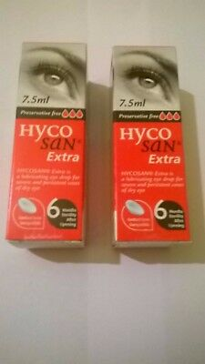2 x Hycosan Extra Preservative-Free Lubricating Eye Drops 7.5ml (15 ml in total)