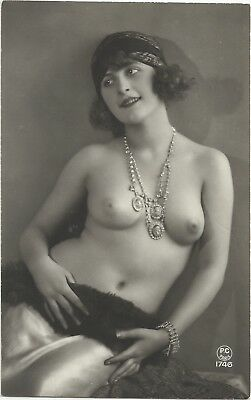 Rare original old French real photo postcard Art Deco nude study 1920s RPPC #309