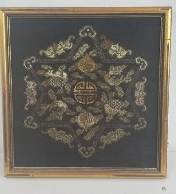 Antique chinese embroidered silk kesi textile panel with bats And Peaches