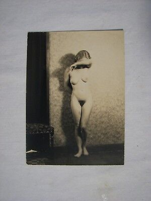 4.5 x 6 Vintage Sepia Tone Photo Nude Female Standing Covering Face
