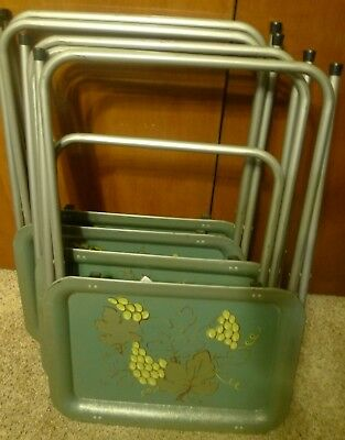 Vintage Set 4 Green Folding Metal TV Trays Mid Century Leaves Grapes Theme