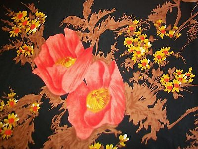 Large Vintage Silk Scarf Gorgeous Poppies Design Vintage Headscarf Hand Rolled
