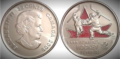 2009 Canada Golden Moments Women's Ice Hockey Colourized 25 Cents UNC Gem BU!!