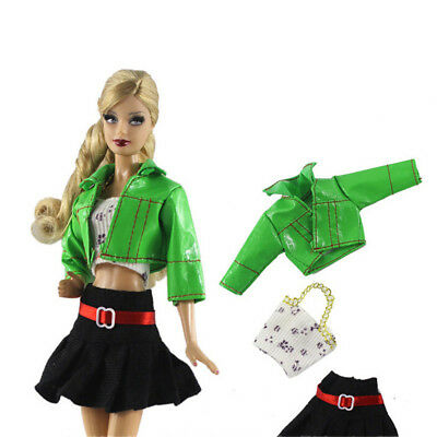 3Pcs/Set Handmade Doll Clothes Suit for Barbie Doll 1/6 Doll Party Daily DressP*