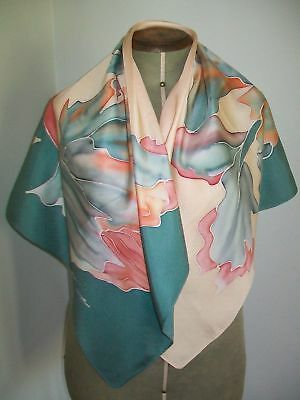 Large Vintage Silk Scarf Hand Painted Silk Headscarf, French Abstract Floral