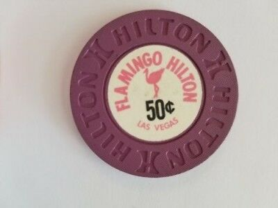 Obsolete Vintage 10Th R7 $0.50 Very Rare Flamingo Hilton Las Vegas Casino Chip