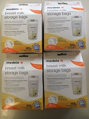 Lot Of 4 50 Count Medela Breast Milk Storage Bags 200 Total