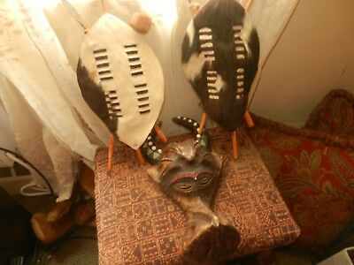 Handcrafted  SKIN Print African Shield and Spear AND MASK