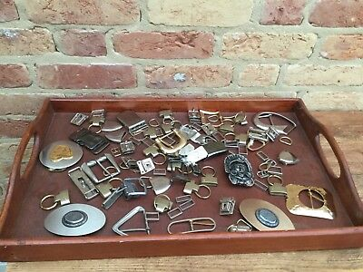 LARGE JOB LOT ORNATE METAL BUCKLES  / RINGS ETC Brass Gold and Silver Finish