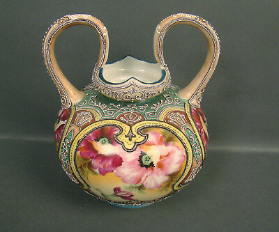 Beautiful Nippon Moriage Vase With Large Mickey Mouse Ear Handles & Floral Decor