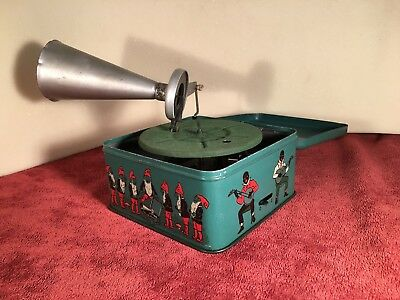 Antique Bing Works German Tin Toy PIGMYPHONE Childs Working Phonograph