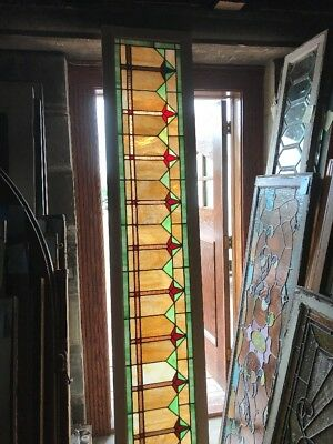 SG 2419 antique Stainglass transom window deco design 17.75 x 93.5