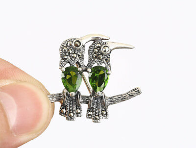 Parrots Marcasite Topaz .925 Solid Sterling Silver Brooch #26303